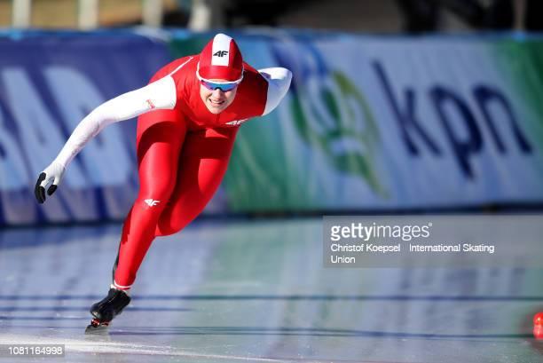 Karolina Gasecka of Poland skates during the ladies 500 meter allround race allround race during Day 1 of the ISU European Speed Skating...