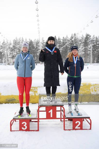 Karolina Gasecka of Poland with the silver medal Yuhan Ma of China with the gold medal and Paulien Verhaar of Netherlands with the bronze medal...