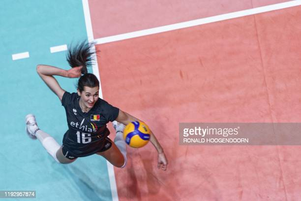 Karolina Goliat of Belgium slams the ball during the women's Tokyo 2020 Volleyball Qualification match against Turkey in Apeldoorn on January 10 2020...