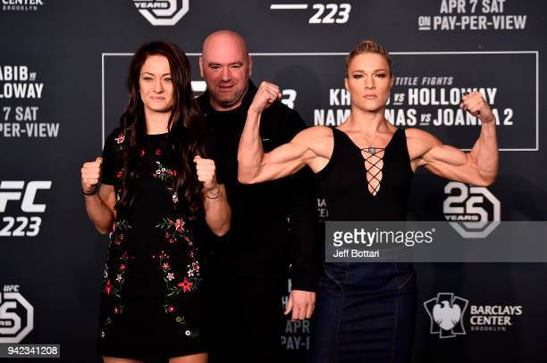 Karolina Kowalkiewicz of Poland and Felice Herrig pose during the UFC 223 Ultimate Media Day inside Barclays Center on April 5 2018 in Brooklyn New...