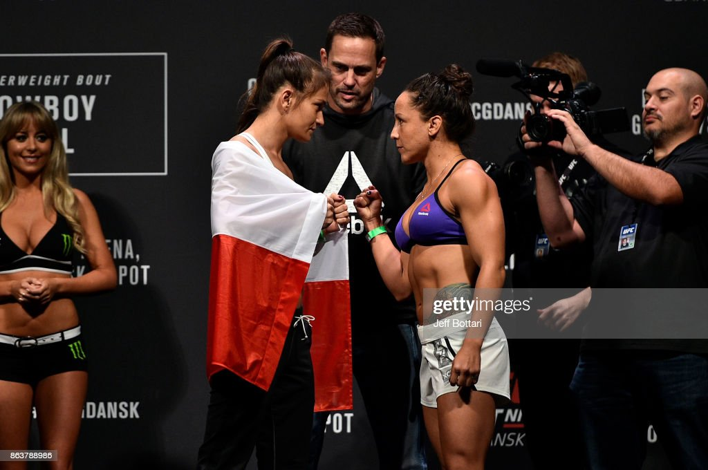 Karolina Kowalkiewicz of Poland and Jodie Esquibel face off during the UFC Fight Night Weigh-in inside Ergo Arena on October 20, 2017 in Gdansk, Poland.