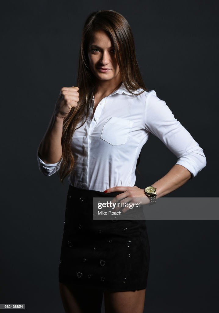 Karolina Kowalkiewicz of Poland poses for a portrait backstage during the UFC Summer Kickoff Press Conference at the American Airlines Center on May 12, 2017 in Dallas, Texas.
