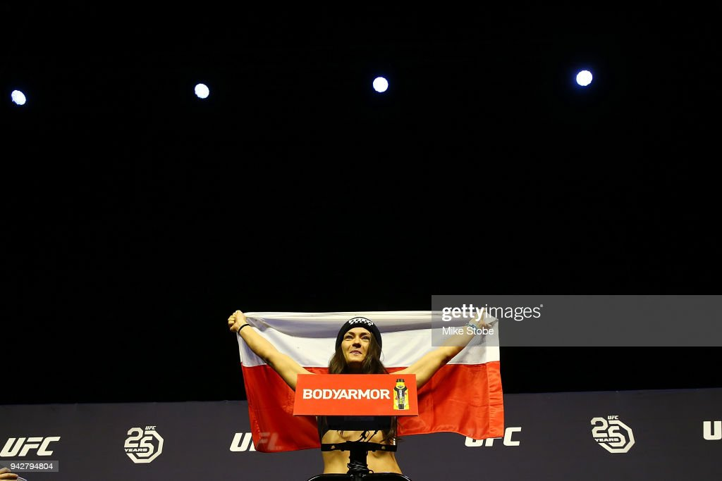 Karolina Kowalkiewicz of Poland poses on the scale during the UFC 223 weigh-in at Barclays Center on April 6, 2018 in New York City.