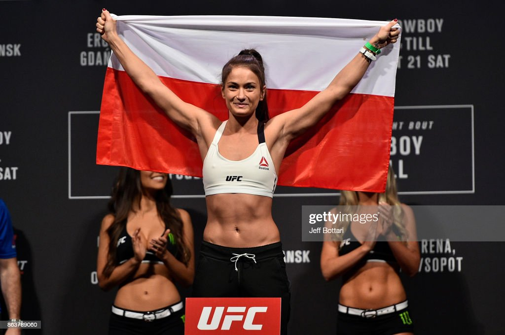 Karolina Kowalkiewicz of Poland poses on the scale during the UFC Fight Night Weigh-in inside Ergo Arena on October 20, 2017 in Gdansk, Poland.