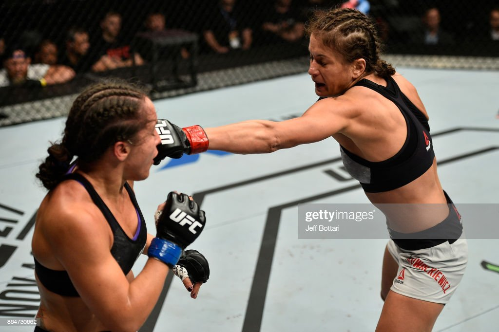Karolina Kowalkiewicz of Poland punches Jodie Esquibel in their women's strawweight bout during the UFC Fight Night event inside Ergo Arena on October 21, 2017 in Gdansk, Poland.