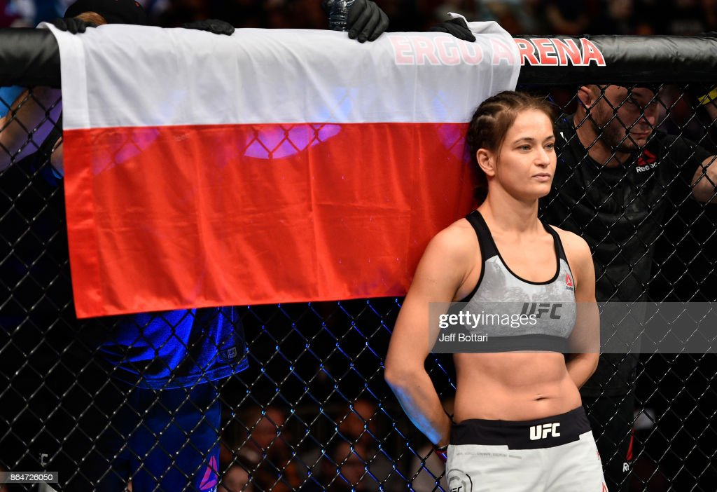 Karolina Kowalkiewicz of Poland stands in the Octagon prior to her women's strawweight bout against Jodie Esquibel during the UFC Fight Night event inside Ergo Arena on October 21, 2017 in Gdansk, Poland.