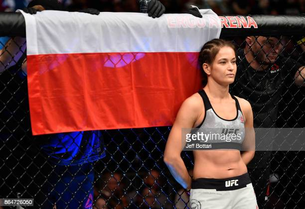 Karolina Kowalkiewicz of Poland stands in the Octagon prior to her women's strawweight bout against Jodie Esquibel during the UFC Fight Night event...