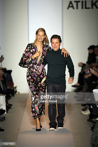 Karolina Kurkova and Atil Kutoglu designer during Olympus Fashion Week Fall 2006 Atil Kutoglu Runway at The Promenade Bryant Park in New York City...