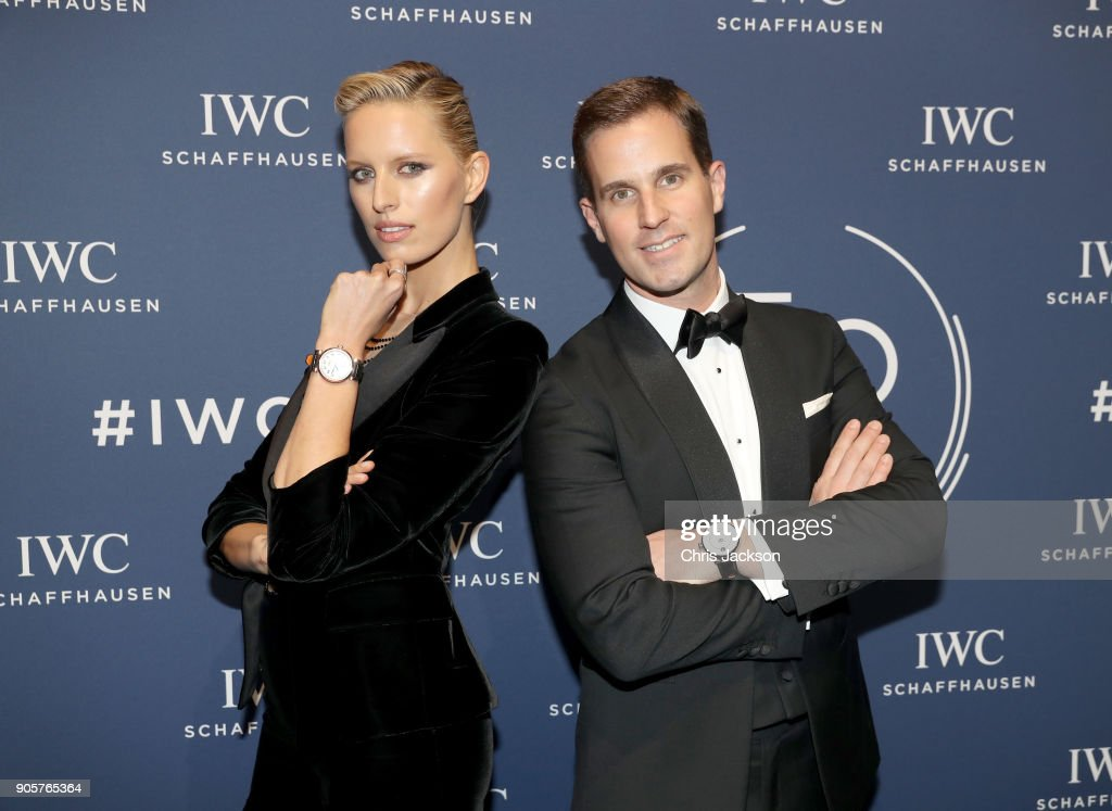 Karolina Kurkova and Christoph Grainger-Herr attend the IWC Schaffhausen Gala celebrating the Maison's 150th anniversary and the launch of its Jubilee Collection at the Salon International de la Haute Horlogerie (SIHH) on January 16, 2018 in Geneva, Switzerland. #IWC150