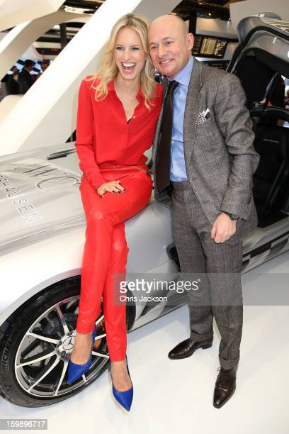 Karolina Kurkova and Georges Kern visit the IWC booth during the Salon International de la Haute Horlogerie 2013 at Palexpo on January 22, 2013 in...