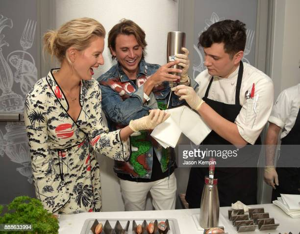 Karolina Kurkova and Jonathan Cheban attend FOOD MEETS ART hosted by Jose Andres for American Express Platinum Card Members at the SLS South Beach...
