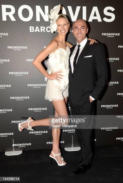 Karolina Kurkova and Manuel Mota attend a photocall for Pronovias Fashion show at the Museu Nacional d'Art de Catalunya on May 11, 2012 in Barcelona,...