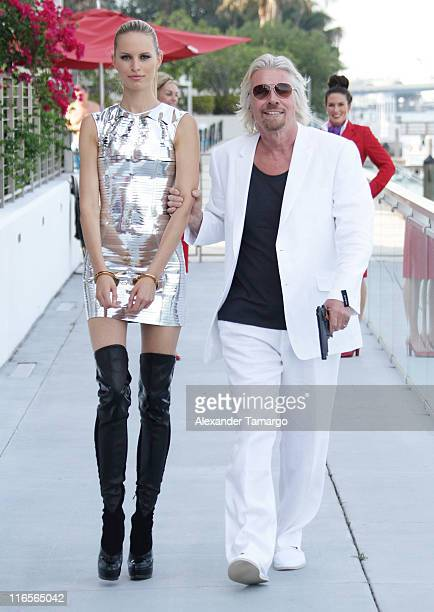 Karolina Kurkova and Sir Richard Branson attend press conference to celebrate Virgin Atlantic's 25th Anniversary of award winning service between...