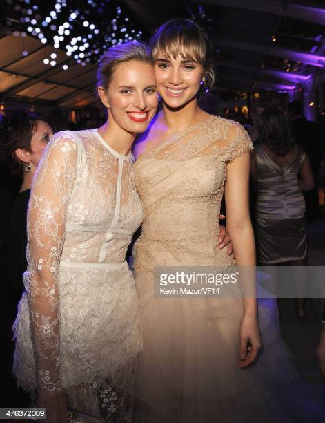 Karolina Kurkova and Suki Waterhouse attend the 2014 Vanity Fair Oscar Party Hosted By Graydon Carter on March 2 2014 in West Hollywood California