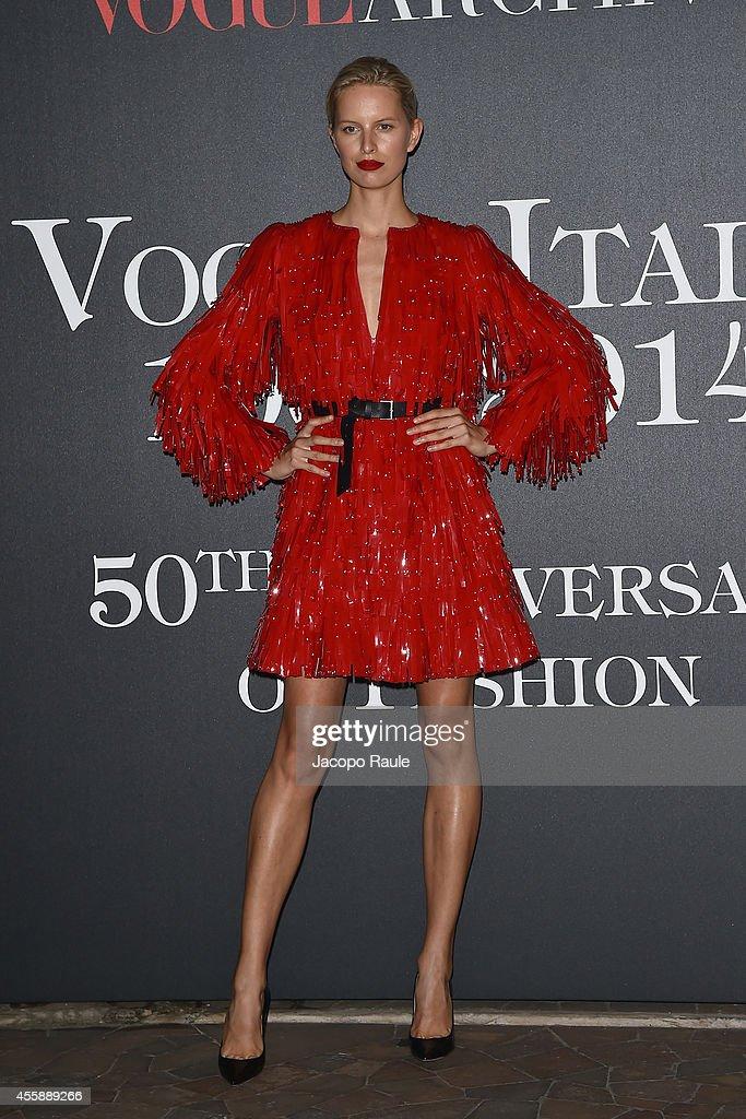 Karolina Kurkova attends Vogue Italia 50th Anniversary during Milan Fashion Week Womenswear Spring/Summer 2015 on September 21, 2014 in Milan, Italy.