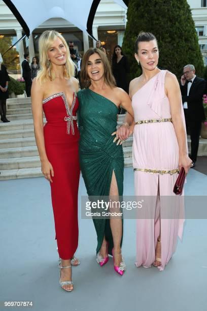 Karolina Kurkova, Carine Roitfeld and Milla Jovovich arrives at the amfAR Gala Cannes 2018 at Hotel du Cap-Eden-Roc on May 17, 2018 in Cap d'Antibes,...