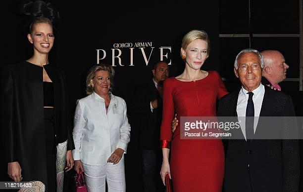 Karolina Kurkova Cate Blanchett and Giorgio Armani attend the Giorgio Armani Prive Haute Couture Fall/Winter 2011/2012 show as part of Paris Fashion...
