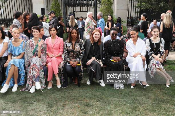 Karolina Kurkova Hikari Mori Gemma Chan Tiffany Haddish Julianne Moore Danai Gurira Katie Holmes and Nazha attend the Tory Burch Spring Summer 2019...