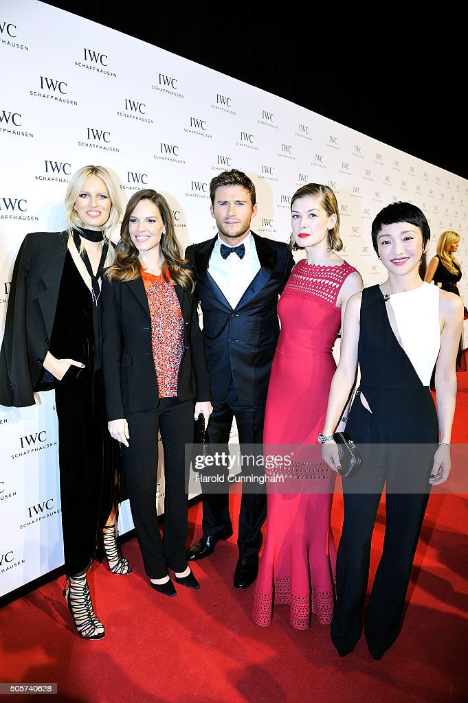 Karolina Kurkova, Hilary Swank, Scott Eastwood, Rosamund Pike and Zhou Xun attend the IWC 'Come Fly With Us' Gala Dinner during the launch of the Pilot's Watches Novelties from the Swiss luxury watch manufacturer IWC Schaffhausen at the Salon International de la Haute Horlogerie (SIHH) 2016 on January 19, 2016 in Geneva, Switzerland.