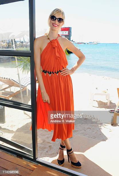 Karolina Kurkova in Giorgio Armani 853S sunglasses from SOLSTICE visits the Variety Studio at the Stella Artois Lounge during the 64th Annual Cannes...