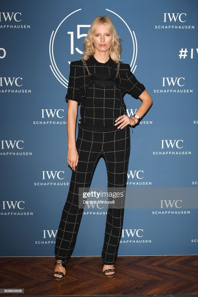 Karolina Kurkova is seen at IWC Schaffhausen at SIHH 2018 on January 16, 2018 in Geneva, Switzerland.