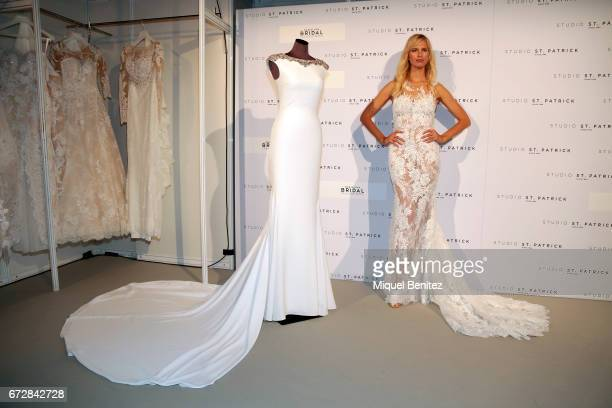 Karolina Kurkova poses during the fiting of Studio St Patrick Pronovias as part of the Barceloa Bridal Fashion Week 2017 at Fira Monjuic 2 on April...