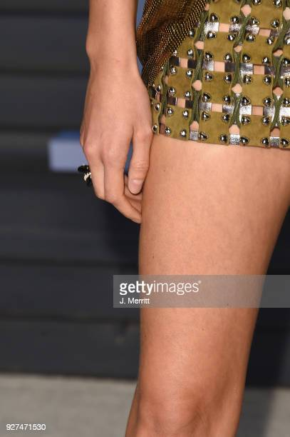 Karolina Kurkova ring detail attends the 2018 Vanity Fair Oscar Party hosted by Radhika Jones at the Wallis Annenberg Center for the Performing Arts...