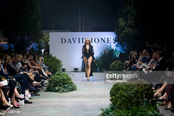 Karolina Kurkova showcases designs by Jets designs during the David Jones Spring Summer 18 Collections Launch at Fox Studios on August 8 2018 in...