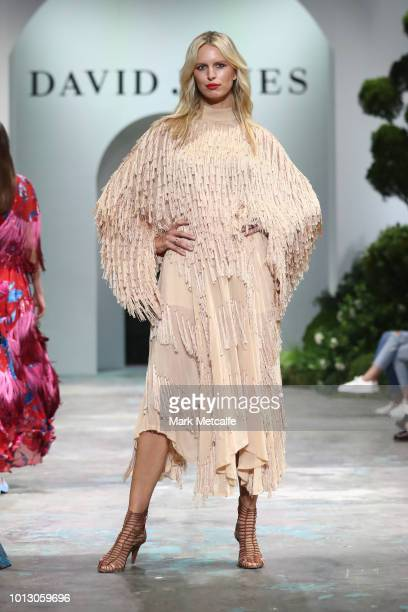 Karolina Kurkova showcases designs by KitX during the media rehearsal ahead of the David Jones Spring Summer 18 Collections Launch at Fox Studios on...