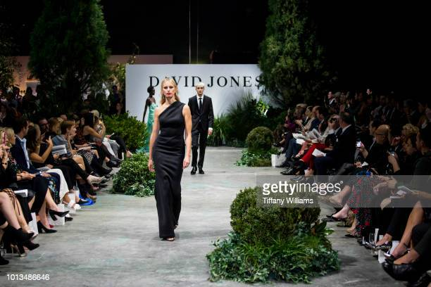 Karolina Kurkova showcases designs by Rachel Gilbert designs during the David Jones Spring Summer 18 Collections Launch at Fox Studios on August 8...
