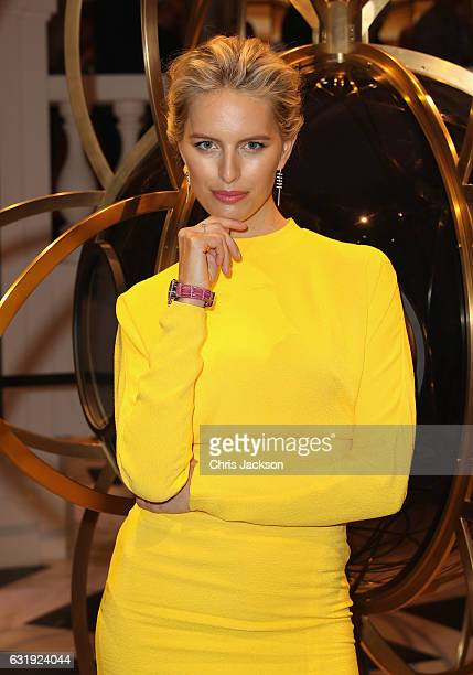 Karolina Kurkova visits the IWC booth during the launch of the Da Vinci Novelties from the Swiss luxury watch manufacturer IWC Schaffhausen at the...