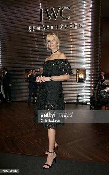 Karolina Kurkova visits the IWC booth during the launch of the Pilot's Watches Novelties from the Swiss luxury watch manufacturer IWC Schaffhausen at...