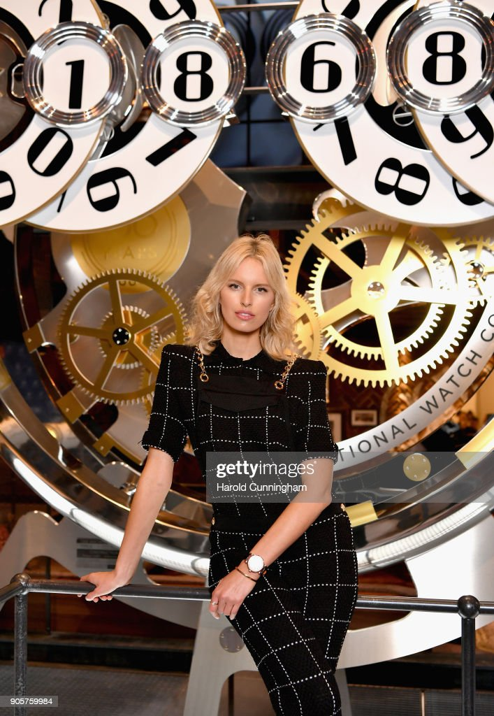 Karolina Kurkova visits the IWC booth during the Maison's launch of its Jubilee Collection at the Salon International de la Haute Horlogerie (SIHH) on January 16, 2018 in Geneva, Switzerland. #IWC150
