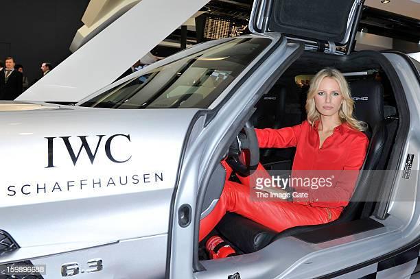 Karolina Kurkova visits the IWC booth during the Salon International de la Haute Horlogerie 2013 at Palexpo on January 22, 2013 in Geneva,...