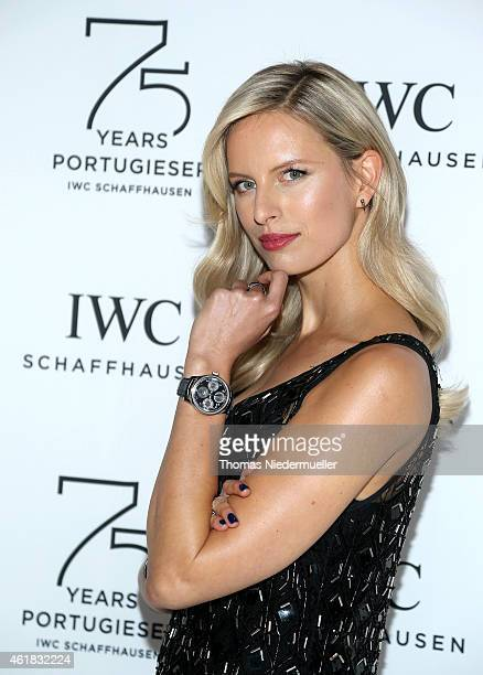 Karolina Kurkova visits the IWC booth during the Salon International de la Haute Horlogerie 2015 at the Palexpo on January 20, 2015 in Geneva,...
