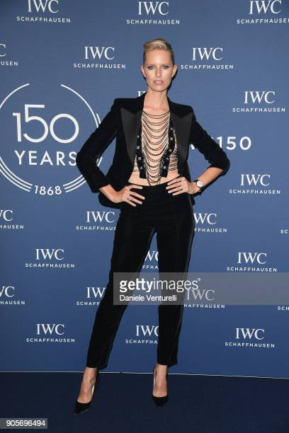 Karolina Kurkova walks the red carpet for IWC Schaffhausen at SIHH 2018 on January 16 2018 in Geneva Switzerland