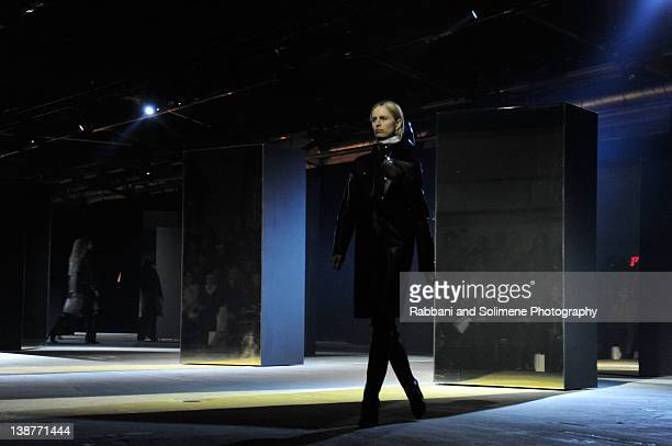 Karolina Kurkova walks the runway at Alexander Wang Fall 2012 fashion show during MercedesBenz Fashion Week at Pier 94 on February 11 2012 in New...