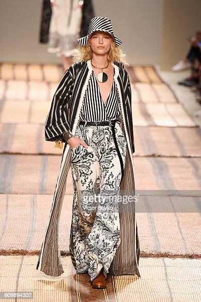 Karolina Kurkova walks the runway at the Etro show during Milan Fashion Week Spring/Summer 2017 on September 23 2016 in Milan Italy