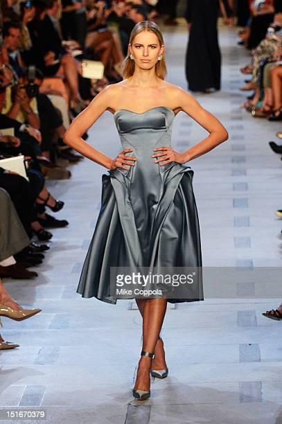 Karolina Kurkova walks the runway at the Zac Posen Spring 2013 fashion show during MercedesBenz Fashion Week at Avery Fisher Hall at Lincoln Center...