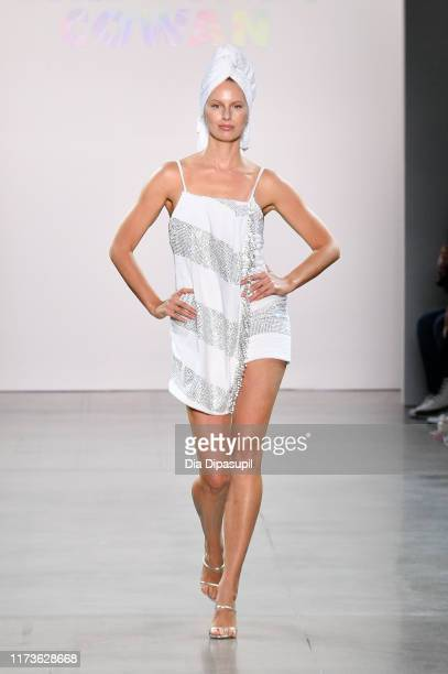 Karolina Kurkova walks the runway for Christian Cowan during New York Fashion Week The Shows at Gallery II at Spring Studios on September 10 2019 in...
