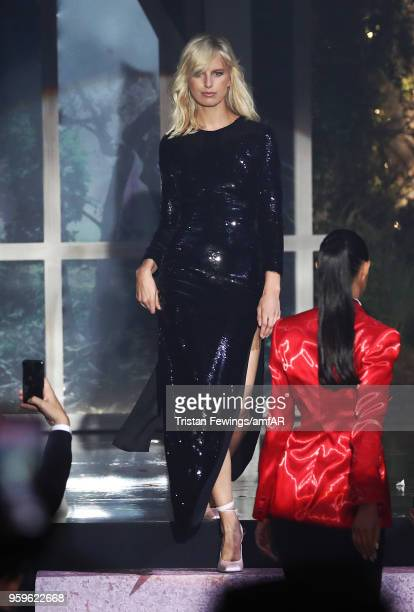 Karolina Kurkova wearing Saint Laurent walks the runway at the amfAR Gala Cannes 2018 at Hotel du CapEdenRoc on May 17 2018 in Cap d'Antibes France