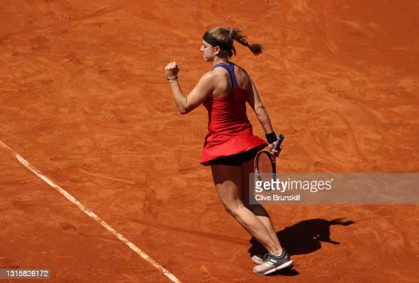 Karolina Muchova of Czech celebrates winning the match during the second round match between Karolina Muchova of Czech and Naomi Osaka of Japan on...