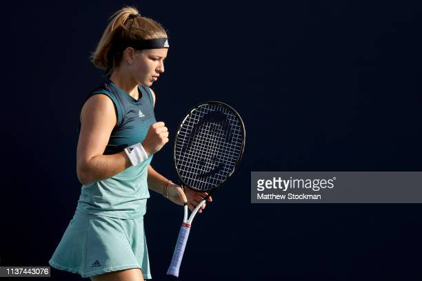 Karolina Muchova of Czech Republic celebrates a point while playing Nao Hibino of Japan during the Miami Open Presented by Itau at Hard Rock Stadium...
