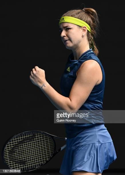 Karolina Muchova of Czech Republic celebrates after winning a point in her Women's Singles third round match against Karolina Pliskova of Czech...