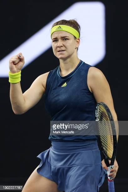 Karolina Muchova of Czech Republic celebrates after winning a point in her Women's Singles fourth round match against against Elise Mertens of...