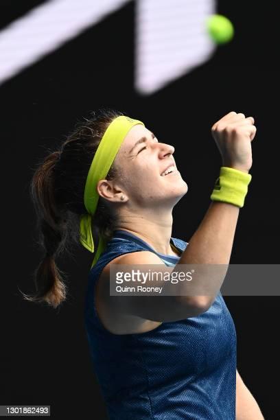 Karolina Muchova of Czech Republic celebrates after winning match point in her Women's Singles third round match against Karolina Pliskova of Czech...