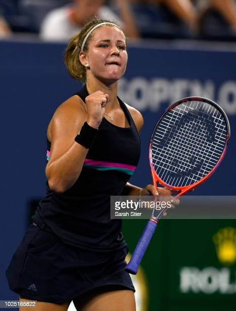Karolina Muchova of Czech Republic celebrates during the women's singles third round match against Garbine Muguruza of Spain on Day Three of the 2018...