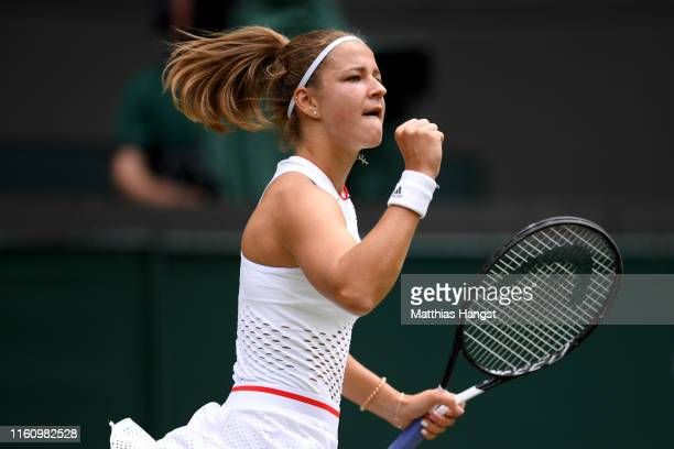 Karolina Muchova of Czech Republic celebrates in her Ladies' Singles Quarter Final match against Elina Svitolina of Ukraine during Day Eight of The...