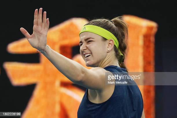 Karolina Muchova of Czech Republic celebrates winning match point in her Women's Singles fourth round match against against Elise Mertens of Belgium...