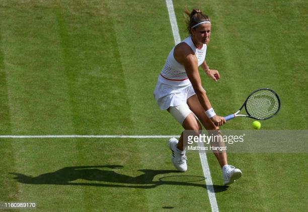 Karolina Muchova of Czech Republic plays a backhand in her Ladies' Singles Quarter Final match against Elina Svitolina of Ukraine during Day Eight of...